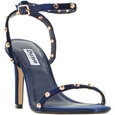Dune Macintosh Studded Stiletto Sandals (£85) ❤ liked on Polyvore featuring shoes, sandals, navy velvet, open toe flat sandals, navy blue high heel sandals, navy blue flat shoes, navy blue flat sandals and navy sandals