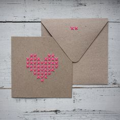 Greeting Card Stitched Heart van StofferBlik