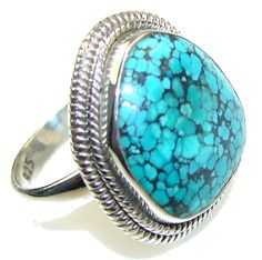 $31.25 Mountain Spiderweb, A-Grade Blue Turquoise Sterling Silver Ring s. 6 at www.SilverRushStyle.com #ring #handmade #jewelry #silver #turquoise
