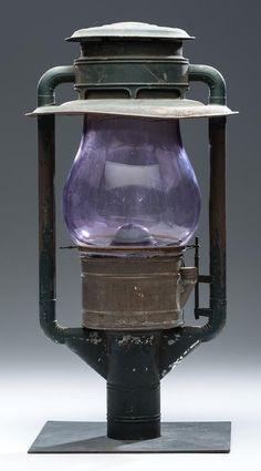 Tin Street Light with Purple Glass Shade - Price Estimate: $300 - $500