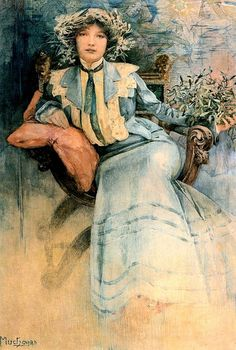 Mucha, Alphonse (1860-1939) - 1903 Portrait of Mme. Mucha with Mistletoe (Private Collection)