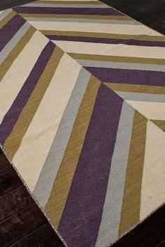 Flat-Weave Stripe Pattern Handmade Wool Rug - Pink/Purple