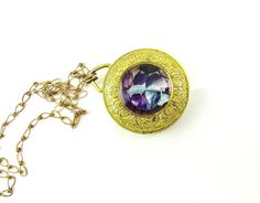Vintage Amethyst Necklace Gold Watch Case by IfindUseekVintage