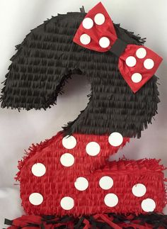 Large Number Two Pinata Black & Red with Bow Second Birthday Pinata - Minnie Mouse Pinata, Minnie Mouse Birthday Outfit, Red Minnie Mouse, Flamingo Birthday, Kids Birthday Themes, 2nd Birthday Parties, Baby Birthday, Birthday Decorations, Birthday Pinata