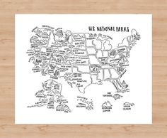 National Parks Map Poster
