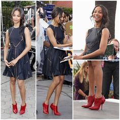 #style: Zoe Saldana wore a sweet Elie Saab #LBD featuring mesh inserts throughout the design from their Resort 2014 Collection, her red Christian Louboutin Huguette 120mm booties added the perfect amount of edge. Tousled tresses with a side braid completed her look. #fashion #Zoe Saldana