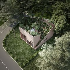 Penda unveiled designs for Yin & Yang House, an off-grid home Kassel, Germany with a stunning rooftop garden. Yin Yang, Houses In Germany, Water From Air, Roofing Options, Residential Roofing, Residential Architecture, Contemporary Architecture, House Address, Garden Design