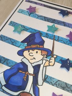 close up. Kort med stempelsættet Den lille troldmand.