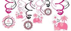 Pink Safari Baby Shower Swirl Decorations - Party City