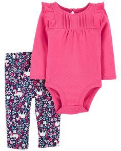 Ruffle Pants, Cotton Pants, Baby Basics, Snap Pants, Pink Bodysuit, Carters Baby Girl, Baby Warmer, Floral Pants, Long Sleeve