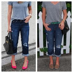 Pinterest Boyfriend Jeans Outfit | So cute :)  I especially love the sassy pink heels for a pop of confidence