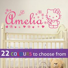 Any custom name Personalised HELLO KITTY wall sticker decal art  with flowers, hearts and butterfly for baby girls nursery bedroom