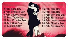 Valentine Week List 2015 Dates Schedule Rose Day Propose Day Hug Day Kiss Day Chocolate Day Full list wiki chart image wallpapers Valentine's Day week days List Of Valentine Week, Valentine Day Calendar, Anti Valentines Day, Valentines Day Wishes, Valentine Week Schedule, Valentine Nails, Valentine Ideas, Flirting Quotes For Her, Tips
