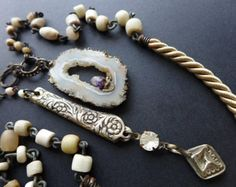 Aware. Druzy geode slice n knife. Rustic assemblage victorian tribal necklace lariat.