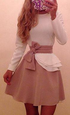 Modernized Aurora (Sleeping Beauty) Princess Dress w/ Long Sleeves and Belt