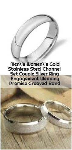 Men's Women's Gold Stainless Steel Channel Set Couple Silver Ring Engagement Wedding Promise Grooved Band - mens wedding bands Silver Engagement Rings, Ring Engagement, Silver Rings, Stainless Steel Channel, Wedding Rings Sets His And Hers, Wedding Promises, Wedding Bands, Platinum Wedding, Couple