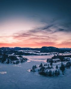 Approximately one hour ago above my home. The soft colors of Telemark. The ice is melting. In the horizon to the right you can spot Lifjell standing proudly in the suns last beams. Theres just something about sunsets at home. The calm and comforting feeling like a kiss from our shared Mother. Wherever you are I hope that you are good. I hope that you are well. I hope that you have the same feeling as I do. Good night  #visittelemark #telemark #nrktelemark
