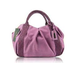 PAOLO MASI Italian Designer Lilac Leather Handbag Purse with Braided Handles