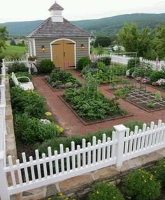 Dream veggie garden and little barn... This would be awesome ... one day.