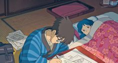 "Jiro working on his aircraft designs by Naoko's bedside - ""The Wind Rises"" (2013)"