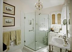 Traditional 3/4 Bathroom with SomerTile 3x12-in Alaskan Craquelle White Ceramic Wall Tiles (Case of 16), penny tile floors
