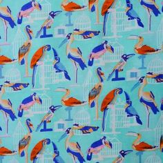 Stof - Papegaai Blauw
