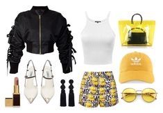 """""""Black Yellow 2nd verse"""" by aimeeindaeyo on Polyvore featuring Moschino, storets, Prada, Dsquared2, adidas, Oscar de la Renta and Tom Ford"""