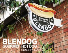 BLENDOG - Gourmet Hot Dog Restaurant / Fast food concept by dumdum design Restaurant Logo Design, Burger Restaurant, Hot Dog Restaurants, Protein Shop, Food Cart Design, Gourmet Hot Dogs, Hot Dog Bar, Dog Cafe, Hot Dog Recipes