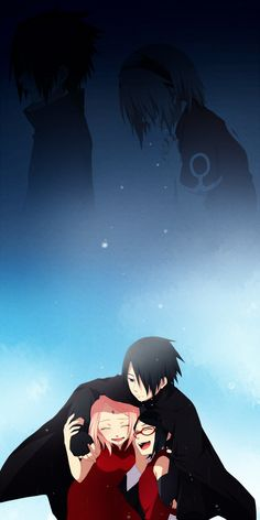 SasuSaku. I love how in this pic shows when they were kids and they are so distanced from each other, and then it shows how they are now, like a family.