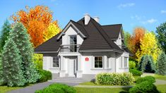 Wizualizacja Dom przy Sielskiej 3 CE Bungalow House Design, Modern House Design, Home Design Plans, Home Interior Design, My Ideal Home, Exterior Paint Colors, Best House Plans, Facade House, Home Fashion