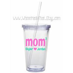 Mother's Day Personalized Tumbler - Mom with children's names - 16oz acrylic cup with straw - BPA free