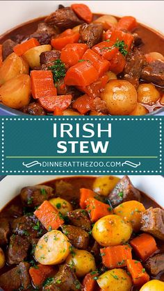 Hearty Irish stew with tender meat and vegetables in a beer broth. Hearty Irish stew with tender meat and vegetables in a beer broth. Stew Meat Recipes, Cooker Recipes, Chicken Recipes, Irish Dinner, Irish Recipes, Irish Meals, Spanish Recipes, German Recipes, French Recipes