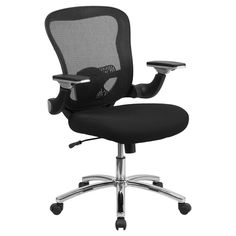 Flash Furniture Mid-Back Mesh Executive Swivel Office Chair with Mesh Padded Seat and Height Adjustable Flip-Up Arms - GO-WY-87-2-GG