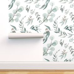Botanical Wallpaper - Jumbo Eucalyptus By Erin Kendal - Modern Farmhouse Printed Removable Self Adhesive Wallpaper Roll by Spoonflower Self Adhesive Wallpaper, Fabric Wallpaper, Custom Wallpaper, Wallpaper Roll, Peel And Stick Wallpaper, Designer Wallpaper, Hallway Wallpaper, Wallpaper Designs, Wallpaper Ideas