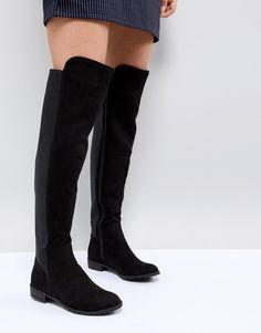 London Rebel Elastic Flat Over Knee Boot - Black
