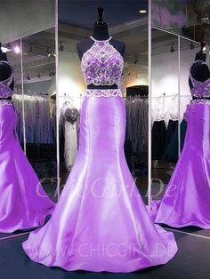 Meerjungfrau Abiballkleid Abendkleid Zweiteilig Neckholder Flieder Satin Mit Perlen Lilac Prom Dresses, Lavender Dresses, Pink Prom Dresses, Formal Dresses, Blue Satin, Ball Gowns, Light Blue, Fashion, Mermaid