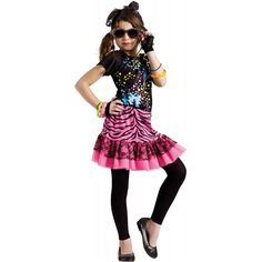 80's Pop Party Costume Kids Rock Star Singer Halloween Fancy Dress | eBay