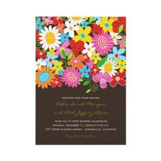Colorful Whimsical Spring Flowers Garden Wedding Invite | Wedding Invitation by fatfatin