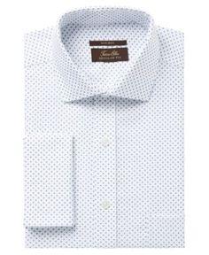 Tasso Elba Men's Classic/Regular Fit Non-Iron White Blue Diamond Print French Cuff Dress Shirt, Created for Macy's - 1