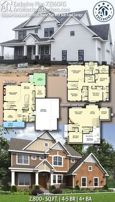 Architectural Designs Exclusive House Plan comes to life in Rhode Island! This exclusive home plan gives you sq., beds, 4 baths and comes with an optional lower level! The Plan, How To Plan, Dream House Plans, House Floor Plans, My Dream Home, Craftsman Floor Plans, Br House, Sims House, Garage House