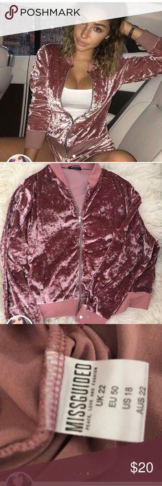 Missguided crushed pink velvet bomber jacket  Super soft and cozy!!! only worn once practically brand new. True to size!   #bomber #diamond #embellished #highend #fashion #luxury #vintage #new #staple #unique #rare #goodquality #model #instafashion #fashionpost #fashionable #moda #vintageclothes #rad #recycle #recycledfashion #70s #funky #onesie #babe #pastel #store #gorgeous #amazing #sweater #floral #katespade #paypal #fashionweek #chanteljeffries #instamodel #instafashion…