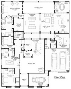 Aracena - Floor Plan But the one car garage is a motorcycle garage. Family House Plans, Best House Plans, Bedroom House Plans, Dream House Plans, Modern House Plans, House Floor Plans, Unique Floor Plans, Home Design Floor Plans, Courtyard House Plans