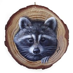 A Sweet Raccon Coming Out from Its Lair, a Unique Wood Slice Painting by Roberto Rizzo! - A Sweet Raccon Coming Out of Her Lair, a Unique Wood Slice Painting by Roberto Rizzo! Stone Painting, Painting On Wood, Painting & Drawing, Rock Painting, Art Rupestre, Art Pierre, Wood Burning Art, Galaxy Painting, Pet Rocks