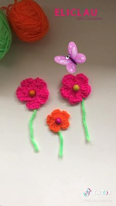 Hand Embroidery Patterns Flowers, Crochet Flower Patterns, Crochet Patterns Amigurumi, Crochet Flowers, Crochet Stitches, Knitted Flowers Free, Crochet Bunting, Crochet Poppy Free Pattern, Crochet Flower Tutorial
