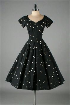 black with white polka dots - 50's