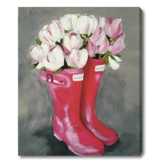 'Tulips and Rainboots' Painting Print on Wrapped Canvas