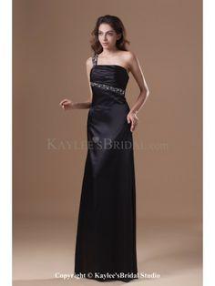 Satin One-shoulder Floor Length Sheath Crystals Prom Dress