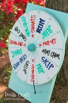 dry erase vinyl wheel of activities....could be good to make for cabin fever days with the boys