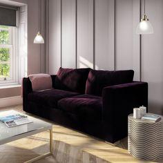 Buy Clara Velvet 3 Seater Sofa in Dark Aubergine from - the UK's leading online furniture and bed store Velvet Furniture, Green Furniture, Large Furniture, Colorful Furniture, Living Room Furniture, Living Room Decor, Three Seater Sofa, Sofa Upholstery, Velvet Sofa
