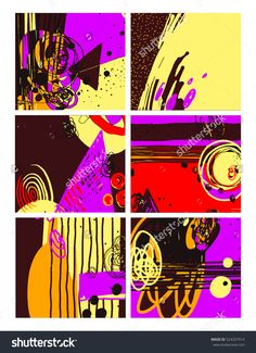set of modern abstract contemporary painting in trendy hipster style collection to poster, greeting card design, printable wall art, home decor,  flyer, brochure, sticker,  raster version illustration